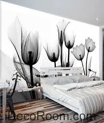 beautiful dream black and white art in full bloom tulips transparent wall art wall decor mural on black and white tulip wall art with beautiful dream black and white art in full bloom tulips transparent