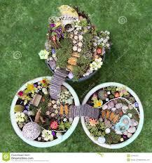 birds eye view of fairy garden in a flower pot