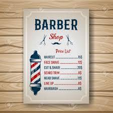 バーバー ショップ色価格または価格ヘアスタイルやテーブルのベクトル図に髪型はパンフレット一覧