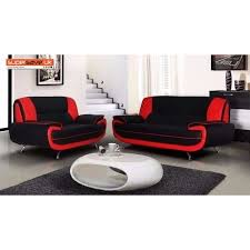lewis 3 2 seater sofa set two piece suite red black faux pu leather