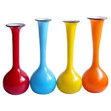 Modern Glass Vases Fratelli Toso Murano Bright Rainbow Colors Italian Art Glass