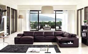 Living Room Furniture North Carolina Brown Leather Sectional Sofa With Built In Coffee Table And Lights