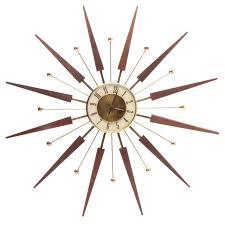 mid century starburst wall clock mirror