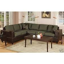 Hunter Green Espresso Sectional Sofa Love Seat Couch
