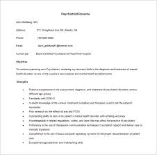 Psychiatrist Resume Free Word Template Downlaod