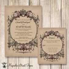 Vintage Wedding Invitation Goth Wedding Invitation Halloween Wedding Invitations Printable