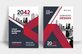 Red Design Company Red Skyline Background Business Book Cover Design Template