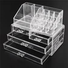 acrylic cosmetic makeup organizer jewelry display bo bathroom storage case 2 pieces set w 4 large drawers
