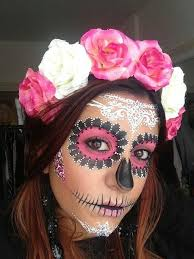 incredible lace sugar skull make for dia de los muertos use the tutorial or try real lace as a stencil and an airbrush 20 day of the dead makeup ideas