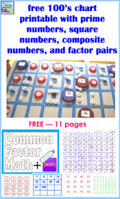 Math Chart Primes Squares Composite And Factor Pairs Free