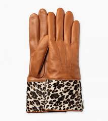 winter accessories brown ugg animal print smart leather glove womens tan leopard