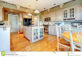White Kitchen With Hardwood Floors Large Beautiful White Kitchen With Hardwood Floor And Green Walls