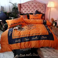 New Bed Sheet Design Sets Hot Orange Bedding Sets New Thick Design Letter H Polyester Colors Winter Bed Sheet Queen King Size Fashion Pillowcase Duvet Cover Fine Bedding Grey