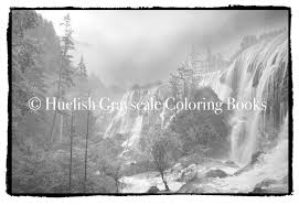 Downloadable Grayscale Coloring Page Waterfall Landscape From