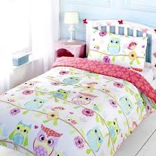 kids double duvet set girls owl themed bedding great idea for toddlers or comes in a single double or cot bed size white background with rows of brightly