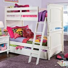 purple fluffy rug mixed with white wooden bunk bed with attractive bedding set plus smart bedside