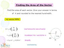 10 7 areas of circles and sectors form g answers geometry sector area and arc length ppt download