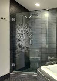 custom made etched glass shower door with panther 3d laser design