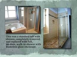 convert bathtub to walk in shower before and after tub conversion modern bathroom turn how faucet tub to shower conversion