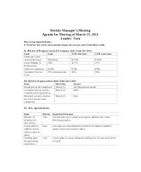 Safety Agenda Template Weekly Employee Meeting Agenda Sample