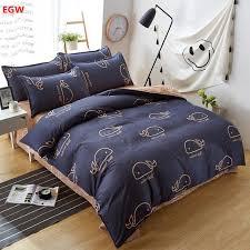 home textile blue geometric bedding set bird duvet cover set king size bedding bed sheet