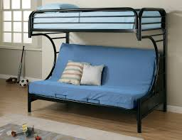 blue fabric Sofa Bed with back on black metal bunk bed with blue ...