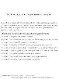 Resume For Assistant Restaurant Manager Restaurant Management