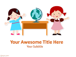 Free Kids Learning Geography Powerpoint Template Download