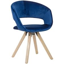 Esszimmerstuhl Dunkelblau Samt Modern Küchenstuhl Mit Lehne Stuhl Mit Holzfüßen Polsterstuhl Maximalbelastbarkeit 110 Kg
