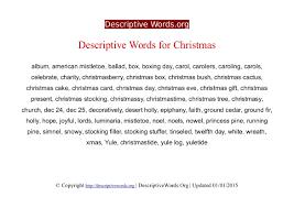 descriptive words for christmas descriptive words list of christmas descriptive words