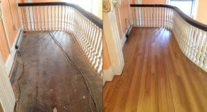 before and after hardwood floor refinishing