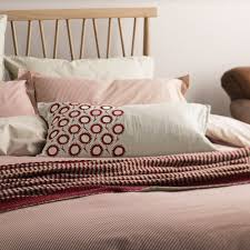 murmur pencil stripe quilt cover red and linen
