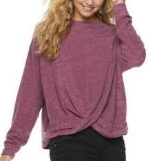 Details About Nwt Juniors Mudd French Terry Twist Front Sweatshirt Magenta Xxs