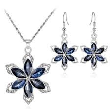 sapphire blue crystal flower pendant necklaces earrings bride crystal eardrop necklace jewelry set silver bridesmaid wedding party jewelry wedding rings