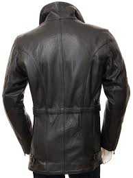 men s black belted leather coat highweek back
