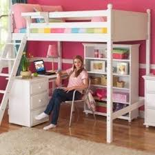 Wooden loft bed with desk extra storage drawers in white