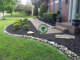 ... Landscape, Appealing Green And Black Rectangle Traditional Grass Rock  Landscaping Ideas Ornamental Stone And Trees ...