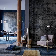 distressed arabesque wool rug midnight c