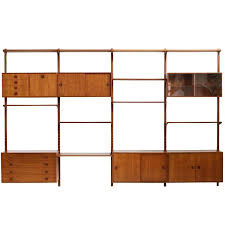 large danish 1960s teak wall unit by