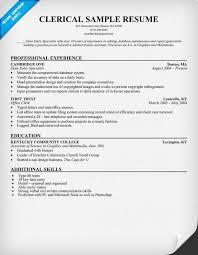 Resume For Clerical Positions Musiccityspiritsandcocktail Com