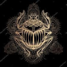 изолированные векторная тату изображения золотой скарабей Beetleon