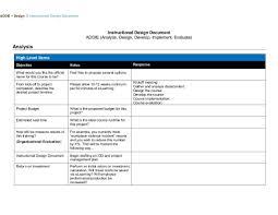 Instructional Design Document Samples Isd Addie Design Document Template Document Templates