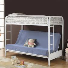 blue futon sofa bed with back on white metal bunk bed having ...