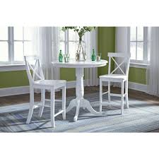 international concepts pure white round counter height pedestal bar table