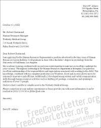 cover letter to human resources human resources representative cover letter sample
