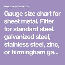 Gauge Size Chart For Sheet Metal Filter For Standard Steel