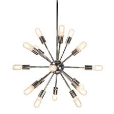 decor living sputnik 18 light polished nickel chandelier