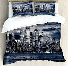 new york bedding set city duvet cover set dramatic view of new skyline from jersey side