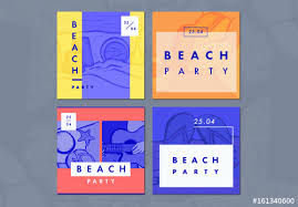 4 Beach Party Themed Social Media Post Layouts Buy This Stock