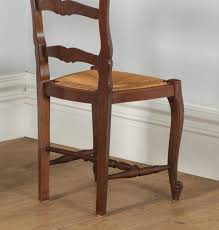 antique set of 12 french louis xv style oak ladder back rush seat dining chairs